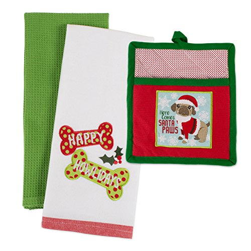 (DII Pup Cotton Christmas Holiday Dish Towel and Pot Holder Gift Set, Perfect for Kitchen Cooking and Baking, 2 Pieces)