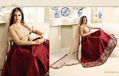 Delisa Prêt Concepteur Fait Porter Indien Anarkali Salwar Kameez Partie Usure Lt Beige
