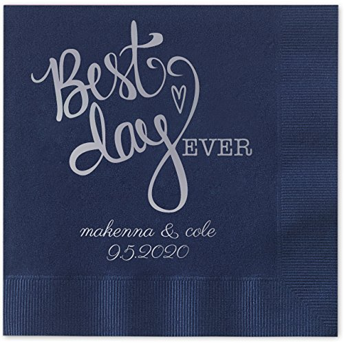 Canopy Street Best Day Ever Heart Personalized Beverage Cocktail Napkins - 100 Custom Printed Navy Blue Paper Napkins with choice of foil (Navy Cocktail Blue)