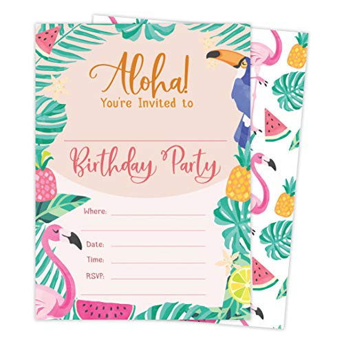 Hawaiian Aloha HI Maui Tropical Style 2 Happy Birthday Invitations Invite Cards (25 Count) With Envelopes and Seal Stickers Vinyl Boys Girls Kids Party -