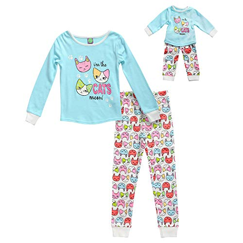 Dollie & Me Girls' Little Snug Fit Sleepwear Set and Matching Doll Outfit, Turquoise/White, 6 -
