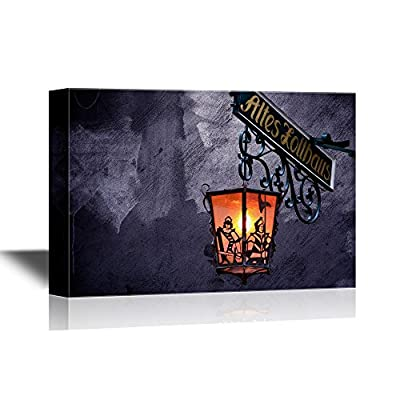 Canvas Wall Art - Creepy Lamp on Halloween Night - Gallery Wrap Modern Home Art | Ready to Hang - 12x18 inches