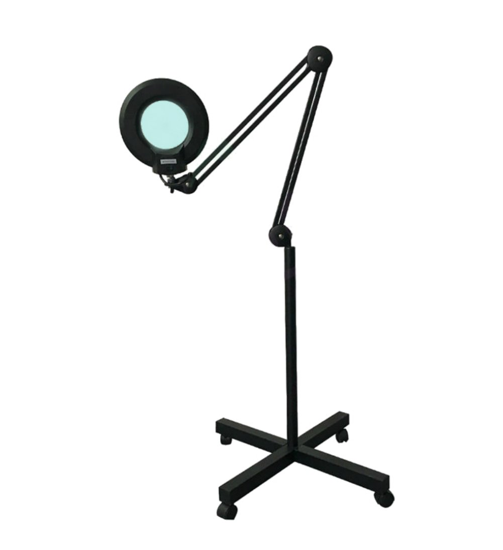 Rolling Floor Stand Swing Arm Lamp w/Magnifier (5X Diopter 2.25 Mag) | Salon Facial Spa Beautician Tatoo Jewelry Precision Work Electrician Equipment | Magnifying Glass Lamp