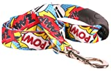 Yellow Dog Design Comic Print Ez-Grip Dog Leash With Comfort Handle 3/4'' Wide And 5' (60'') Long, Small/Medium