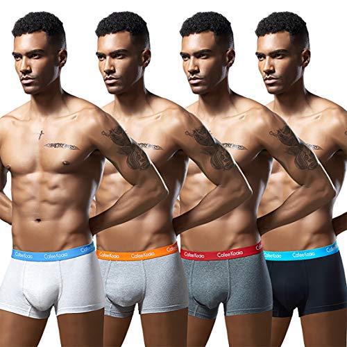 Cotton Stretch Pouch - Robesbon Cotton Stretch Seamless Mens Boxer Briefs Underwear 4 Pack Medium