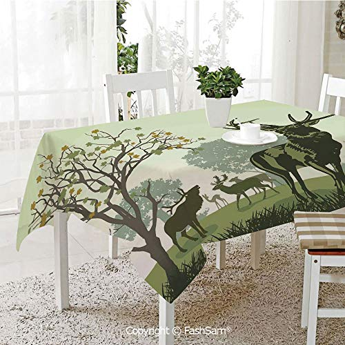 AmaUncle Party Decorations Tablecloth Deer and Wildlife in Park World Natural Heritage Forest Areas Reindeer Resistant Table Toppers (W60 xL84)]()