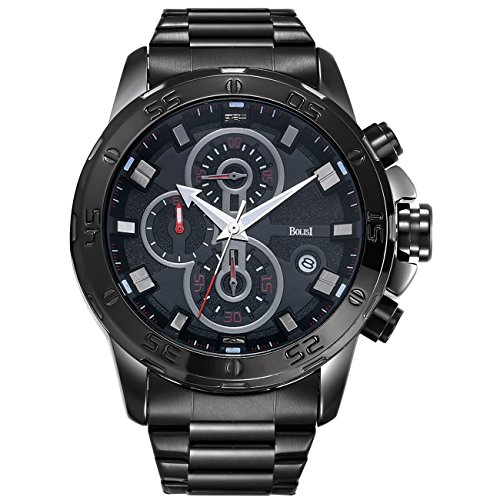 Analog Stainless Steel Bracelet (BOLISI Men Chronograph Watches With Date Analog and Stainless Steel Bracelet (Black Red))