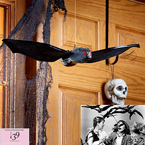 Scary Hanging Haunted prop Halloween Flying Flapping winged Bat with Red Lighted Eyes (Flying Bats)