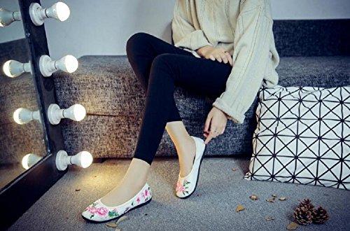 Lässige Kleid Canvas On Flats Stil Stickerei Womens Cheongsam Chinesischen Lazutom Weiß Slip Schuhe XgvOq5