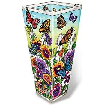Amazon Amia 41705 Hand Painted Glass Vase 10 Inch High Pansy