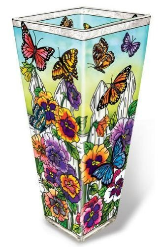 Painted Vase Glass (Amia 41705 Hand-Painted Glass Vase, 10-Inch High, Pansy and Butterfly Design)