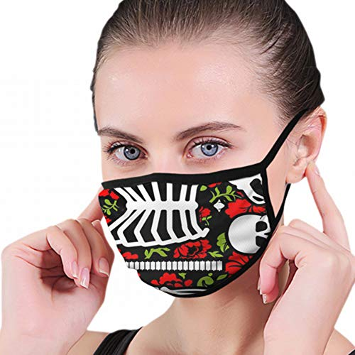 Bones Flowers Skeleton Skull Anatomy Healthcare Medical Anti Pollution Dust Mask Washable And Reusable Polyester Face Mouth Mask Protection From Flu Germ Pollen Allergy Respirator Mask