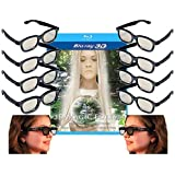 Family Adult and Kids 3D Glasses Pack for LG, SONY, Vizio and all other Passive 3D TVs also for use in Real-D Theaters - 10 Pairs of Circular Polarized 3-D Glasses Includes Magic Forest 3-D Blu-ray