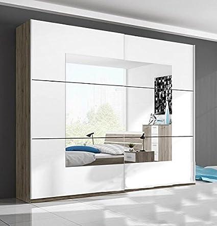 Marca nilight dormitorio armario puerta corredera Beta 4 con espejo en blanco y roble San Remo 221 cm se vende por Arthauss: Amazon.es: Hogar