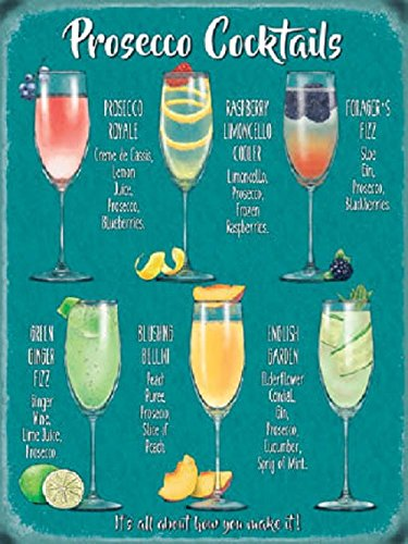 Metal Sign Plaque Fun Prosecco Cocktail Recipes Drink