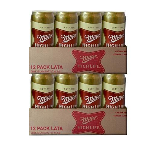 Cerveza Miller High Life Lata - Caja con 2 Packs de 12 piezas de 710 ml