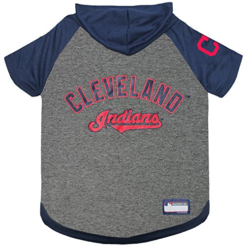 MLB Hoodie for Dogs & Cats - Cleveland Indians Dog Hooded T-Shirt, Medium. - MLB Team Color Hoody