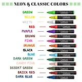 Chalk Markers & Metallic Colors - Pack of 21 neon chalk pens - For Chalkboard, Whiteboard, Blackboard, Window, Labels, Bistro, Glass - Wet Wipe Erasable - 6mm Reversible bullet & chisel Tip
