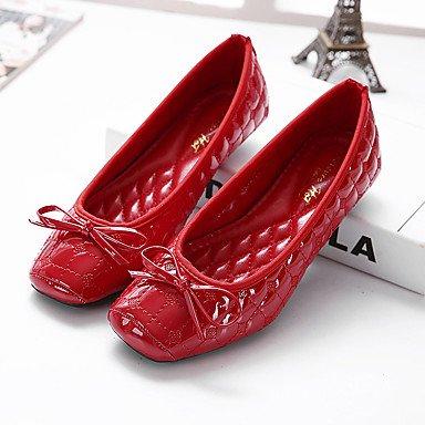Cómodo y elegante soporte de zapatos de las mujeres pisos Fall Bailarina sintética Casual talón plano negro con lazo rojo de almendro en otros rojo