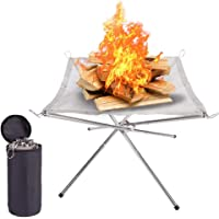 Heyeam Portable Outdoor Fire Pit Camping Collapsing Stainless Steel Mesh Fireplace Foldable Perfect for Outdoor Patio…
