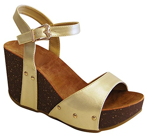 Cambridge Select Womens Open Toe Single Band Buckled Ankle Strap Studded Chunky Platform Wedge Sandal Champagne Pu bK0HO0zX