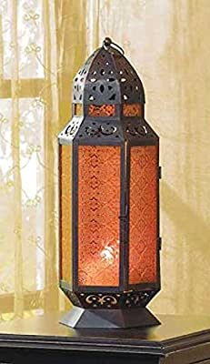 Tall Moroccan Style Amber Glass Candle Lantern