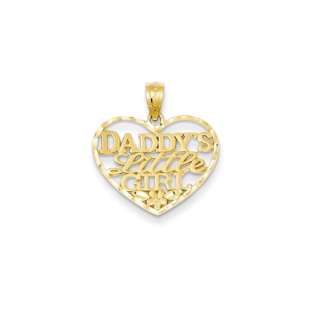 ICE CARATS 14k Yellow Gold Daddys Little Girl Heart Pendant Charm Necklace Love Fine Jewelry Gift Set For Women Heart