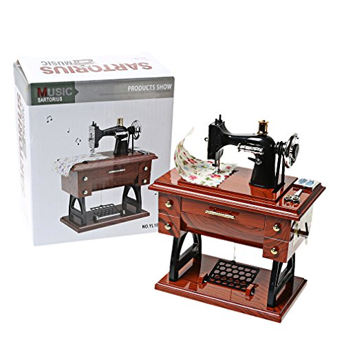 CocoTop Vintage Mini Sewing Machine Style Plastic Music Box Table Desk Car Home Decoration Gift Toy for Kid Children
