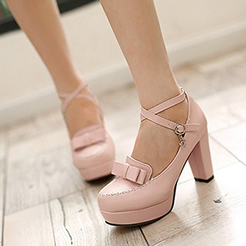 Block Shoes CHNHIRA Women's Bright Summer Pink Bowknot Court Heel Toe High Belt nOOYHBqZ