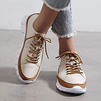 YiYLunneo Women Sport Running Shoes Lace-Up Casual Outdoor Athletic Training Shoes Breathable Soft Bottom Sneakers Khaki: Clothing