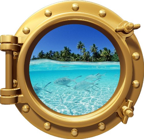 12'' PortScape Instant Sea Window Shallow Water #1 BRONZE Porthole Wall Graphic Decal Sticker Mural Home Kids Game Room Art Decor NEW !!