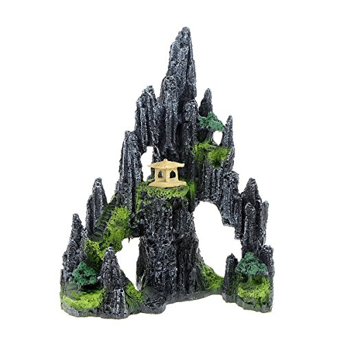 Saim Mountain View Aquarium Ornament Tree House Cave Bridge Fish Tank Decoration
