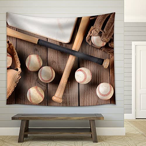 Baseball Equipment on a Rustic Wood Surface Items Include Baseballs Bats Home Plate Fabric Wall