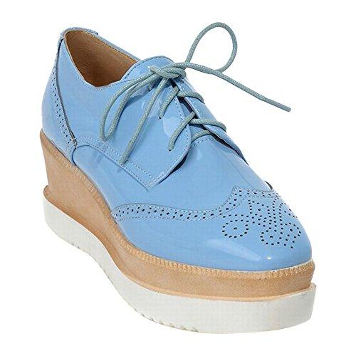 Lace Latasa Platform Shoes Wedge Blue up Women's 551nFaqA