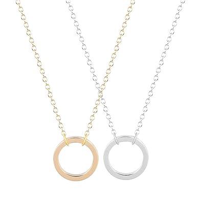 ef81dacd03e2 Nuevo estilo abierto círculo collar único colgante collares Collar de  regalo de joyería de moda para niñas y señoras 2pcs  Amazon.es  Joyería