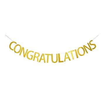 amazon com congratulations banner gold gliter paper sign for