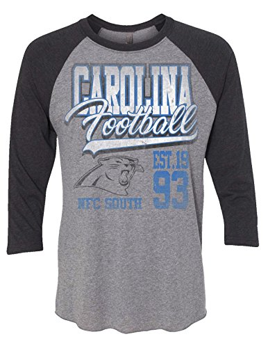 (Zubaz NFL North Carolina Panthers Men's 3/4 Raglan Tee, Large, Gray)