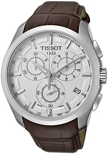 TissotT0356171603100 Men's T-Trend Couturier Chronograph White Dial Brown Genuine Leather by Tissot