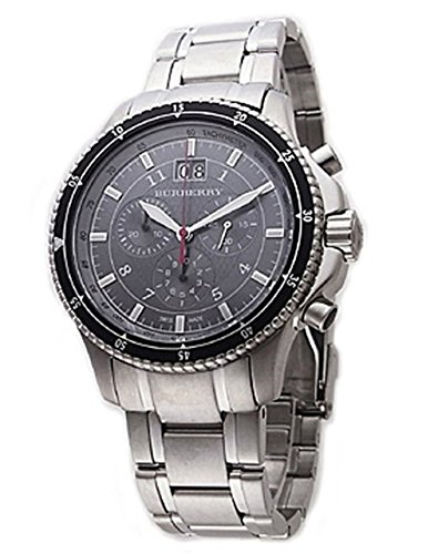 Burberry Endurance SWISS LUXURY Men Unisex Women 42mm Round Stainless Steel Chronograph Watch Stainless Steel Band Black Date Dial BU7602