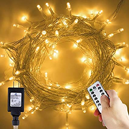 Christmas Led String Lights.Brightown Christmas Led String Lights 43ft 100 Leds Clear Fairy Light String With Remote Timer 8 Modes Twinkle Waterproof For Outdoor Xmas Trees