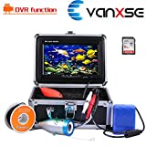 Vanxse Underwater Fish Finder With Video Recorder DVR Function Professional Fishing Video Camera 7'' TFT Color LCD HD Monitor 1000tvl CCD 50M Cable Length 8GB SD Card