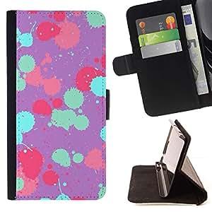 """Patrón pintura trullo Rosa Púrpura"""" Colorida Impresión Funda Cuero Monedero Caja Bolsa Cubierta Caja Piel Id Credit Card Slots Para Samsung ALPHA G850"""