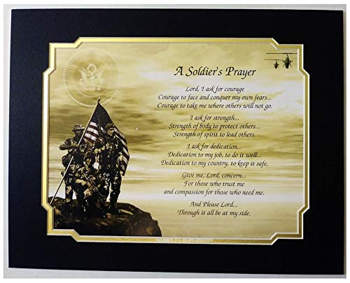 Cazual Creations Army Soldier's Prayer Gift for Veterans Day Christmas Birthday Father's Day Husband Son Dad Military]()