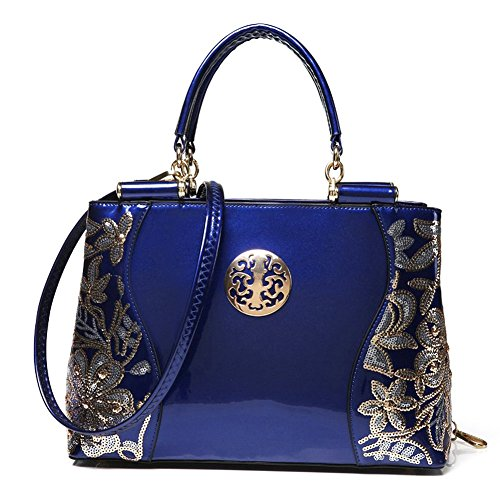 (JVS 32-H) Bolso bandolera mujer diagonal bordado mujer diagonal bordado OL para mujer en color rojo Azul Marino