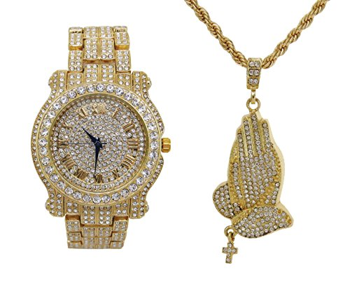 Bling-ed Out Rapper Fashion - Praying Hands Ice'd Look Pendent with Gold Tone Necklace with Fully Blinged Out Luxurious Gold Watch!! - L0504-SSS41Gold
