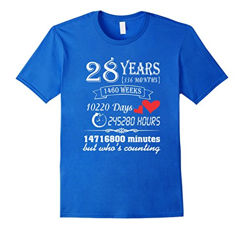 Mens Anniversary Gift 28th T-Shirt 28 Years Wedding Marriage Gift Large Royal Blue