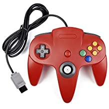 Classic N64 Controller, kiwitata Retro Wired Game Controller Gamepad Joystick for N64 Console Nintendo 64 Video Game System Red