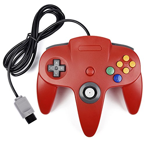 N64 Controller, iNNEXT Classic Wired N64 64-bit Gamepad Joystick for Ultra 64 Video Game Console (Red)