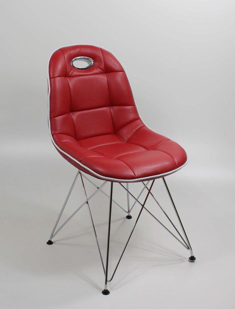 Stuhlgruppe Anabel Trapezgittergestell verchromt Kunstleder Farbe nach Wahl Designerstuhl Schalenstuhl Stuhl, Set-Inhalt:8er-Set - 8 Stück;Farbe:rot