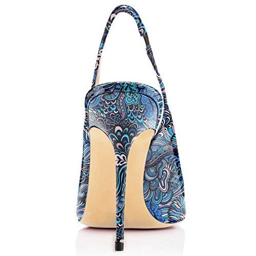 EDEFS Damen Slingback Pumps Spitze Zehen High Heels Bequeme Schuhe Floral Blue